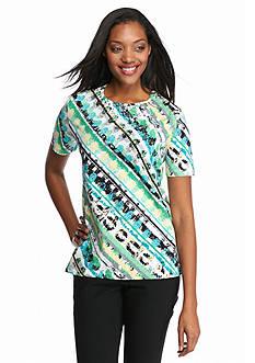Alfred Dunner Petite Classics Diagonal Stripe Knit Top