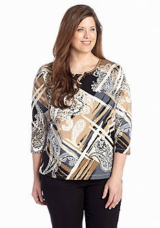 Alfred Dunner Plus Size Abstract Paisley Knit Top