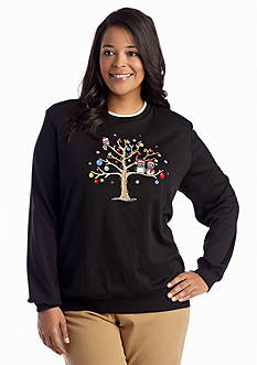 Alfred Dunner Plus Size Classics Owl Embellished Knit Top