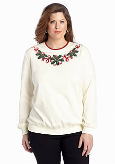 Alfred Dunner Plus Size Classics Holly Yoke Embellished Knit Top