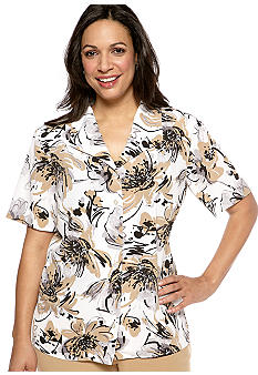 Alfred Dunner Plus Size Classics Abstract Floral Blouse