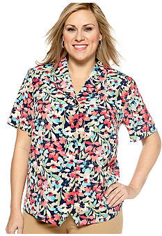 Alfred Dunner Plus Size Classics Floral Weskit Blouse