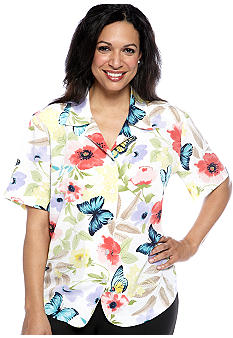 Alfred Dunner Plus Size Classics Butterfly Short Sleeve Blouse