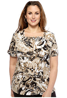 Alfred Dunner Plus Size Abstract Printed Square Neck Tee