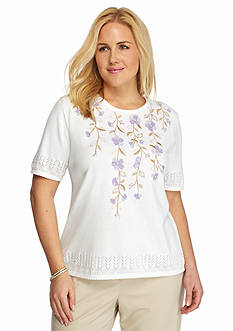 Alfred Dunner Plus Size Lavender Fields Floral Yoke Sweater