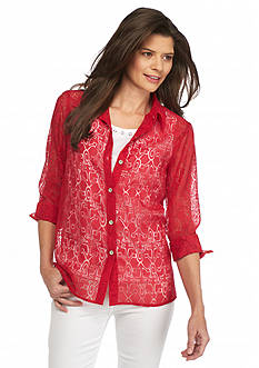 Alfred Dunner Petite All Aboard Button Down Anchor Burnout 2Fer