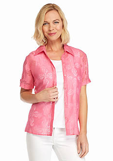 Alfred Dunner Acapulco Seahorse Burnout Button Down 2Fer Shirt