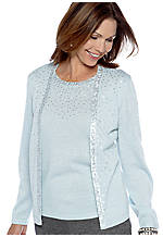 Alfred Dunner Down Memory Lane Beaded Cardigan and Shell