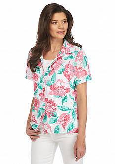 Alfred Dunner Petite Acapulco Floral Button Down 2Fer Top