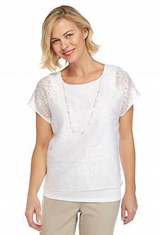 Alfred Dunner Feels Like Spring Pineapple Burnout Top