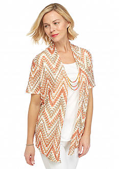 Alfred Dunner Feels Like Spring Chevron Texture 2Fer Top
