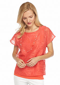 Alfred Dunner Petite Feels Like Spring Pineapple Burnout Top