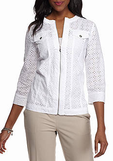 Alfred Dunner White Now Eyelet Jacket