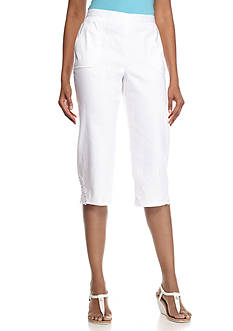 Alfred Dunner Petite White Now Lace Trim Capris
