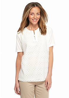 Alfred Dunner Cozumel Lace Front Top