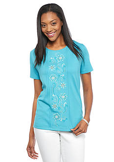 Alfred Dunner Cozumel Floral Embroidered Knit Tee