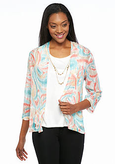Alfred Dunner Cozumel Printed Knit 2Fer Top