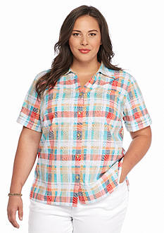 Alfred Dunner Plus Size Cozmuel Plaid Button Down Shirt