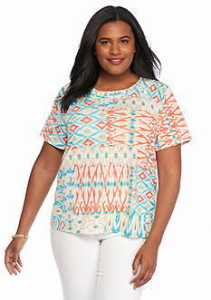 Alfred Dunner Plus Size Cozumel Printed Knit Tee
