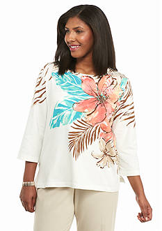 Alfred Dunner Plus Size Cozumel Tropical Embellished Top