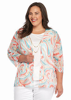 Alfred Dunner Plus Size Cozumel Printed Knit 2Fer Top