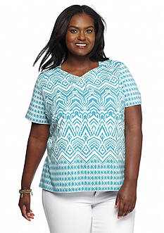 Alfred Dunner Plus Size Cozumel Embellished Neck Printed Tee