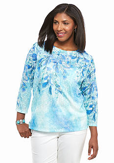 Alfred Dunner Plus Size Cozumel Falling Leaves Knit Top