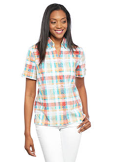 Alfred Dunner Petite Cozmuel Plaid Button Down Shirt