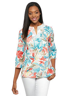 Alfred Dunner Petite Cozumel Tropical Print Tunic Top