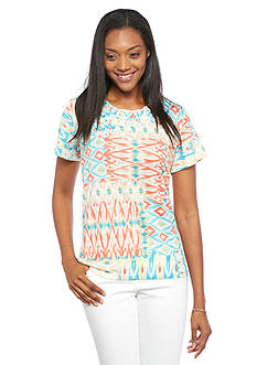 Alfred Dunner Petite Cozumel Printed Knit Tee