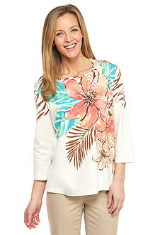 Alfred Dunner Petite Cozumel Tropical Embellished Top