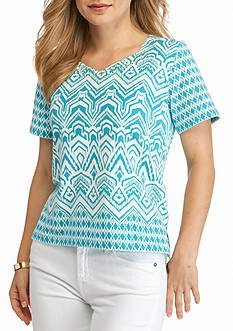 Alfred Dunner Petite Cozumel Monotone Knit Top