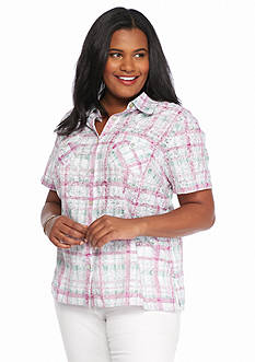 Alfred Dunner Plus Size Savannah Plaid Embroidered Button Down Shirt