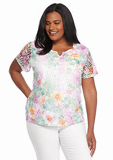 Alfred Dunner Plus Size Savannah Floral Lace Knit Top