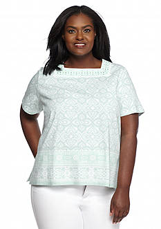 Alfred Dunner Plus Size Sao Paolo Medallion Print Square Neck Tee