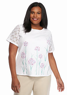 Alfred Dunner Plus Size Savannah Floral Embroidered Top