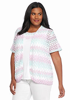 Alfred Dunner Plus Size Sao Paolo Knit 2Fer Top
