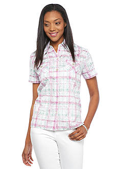 Alfred Dunner Petite Savannah Plaid Embroidered Button Down Shirt