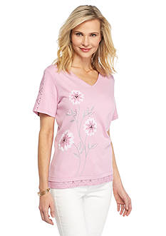 Alfred Dunner Petite Savannah Floral Applique Knit Top