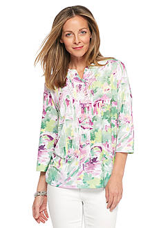 Alfred Dunner Petite Savannah Scenic Print Embellished Neck Top