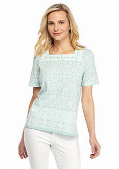 Alfred Dunner Petite Savannah Embellished Printed Knit Top