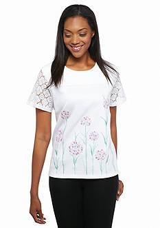 Alfred Dunner Petite Savannah Floral Embroidered Top