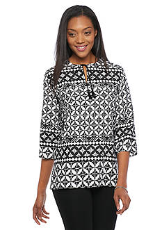 Alfred Dunner Sao Paolo Printed Peasant Top