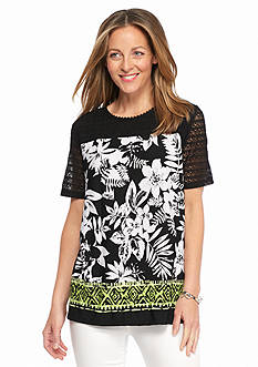 Alfred Dunner Sao Paolo Printed Lace Yoke Knit Top