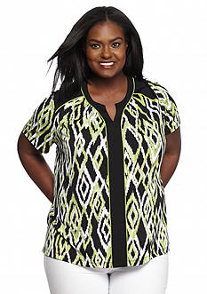 Alfred Dunner Plus Size Paolo Printed Knit Top