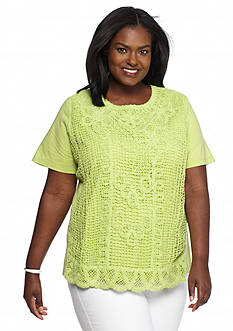 Alfred Dunner Plus Size Sao Paolo Crochet Front Top