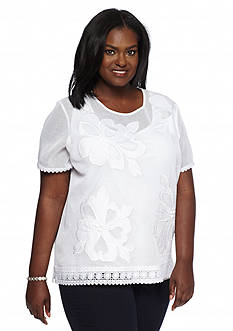 Alfred Dunner Plus Size Sao Paolo Floral Mesh Knit Top