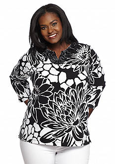 Alfred Dunner Plus Size Sao Paolo Embellished Floral Knit Top