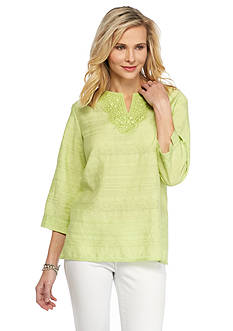 Alfred Dunner Petite Sao Paolo Embellished Woven Tunic Top