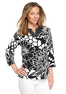 Alfred Dunner Petite Sao Paolo Embellished Floral Knit Top